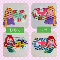 Rapunzel and Ariel - Disney Princess name tag perler beads by ringo_0122