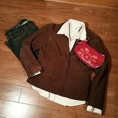 Brown courderoy blazer. Excellent condition. Slightly fitted.  Three buttons on front, four buttons on the sleeves. Two front pockets. Old Navy Jackets & Coats Blazers