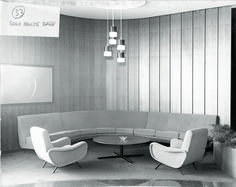 MARCO ZANUSO 1951. Love this mid century modern seating arrangement. The sofa and chairs are wonderful