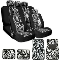 New Safari Zebra Tiger Print Universal Car Truck Seat Covers Mats Smart Pocket