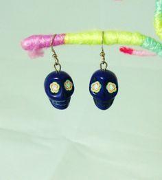 Dark Blue Flower Eyed Day of the Dead Skull Earrings
