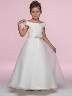 Find custom pretty a-line off-the-shoulder cap sleeves ankle length satin organza embroidery bow flower girl, first communion dresses, first communion dresses, flower girl dresses at discount prices Wedding Dresses Edmonton, Wedding Dresses Sydney, Cheap Wedding Dresses Online, Cheap Prom Dresses, Girls Dresses, Sydney Wedding, Dream Wedding, Bridesmaid Dresses, Camilla