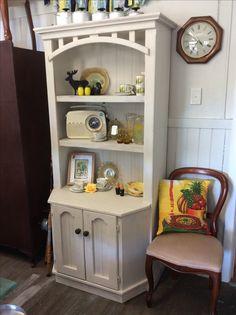 Timber entertainment unit turned kitchen hutch in Botanics 'linen' Kitchen Hutch, I Shop, Bookcase, Kitten, The Unit, Entertainment, Shelves, Vintage, Home Decor