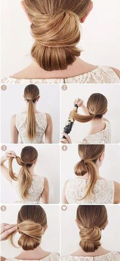 low bun hairstyle with step by step pics