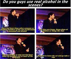 Misha alcohol on set