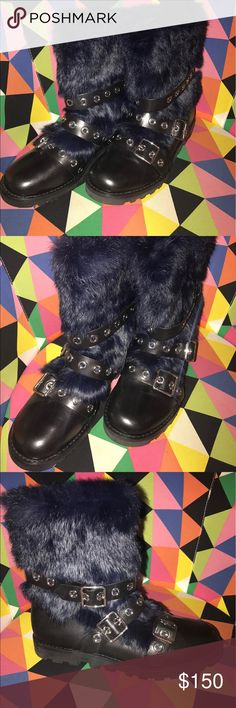 Marc Jacobs Black Leather Rabbit Fur Moto Boots Never worn (with tag!) black leather rabbit fur boots. Size 10, rubber sole. Leather inside and out, with rich navy blue dyed rabbit fur detailing and metal buckles. Soft, comfy and edgy. Marc by Marc Jacobs Shoes Combat & Moto Boots