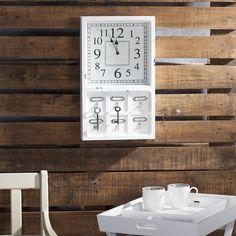 #zegar #clock #watch #decoration #dekoracje  Zegar SHABBY z haczykami 30x7x50cm, 30x7x50cm - Dekoria