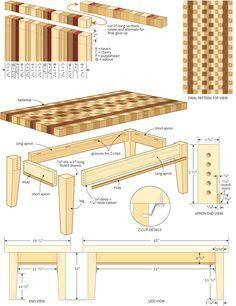 End-grain coffee table
