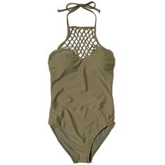 Hollister Halter High-Neck One-Piece Swimsuit ($22) ❤ liked on Polyvore featuring swimwear, one-piece swimsuits, olive, swim suits, halter-top one-piece swimsuits, halter one piece swimsuit, high neck halter swimsuit and olive one piece swimsuit