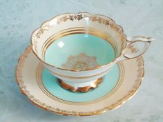 Aqua and Gold Gilded Tea Cup and Saucer Set - Vintage Royal Standard Teacup and Saucer - Vintage Cups and Saucers. $40.00, via Etsy.