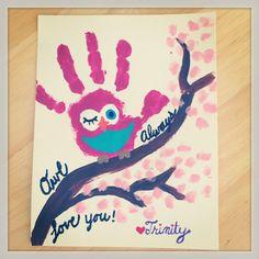 Toddler art -- Owl Handprints