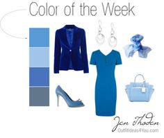 Blue is the color of the week! Try this monochromatic blue outfit idea for work or even to a party. The royal blue velvet jacket adds polish and fun. All the blues work beautifully together to give you a clean, sophisticated look.  This color combo can be worn by a clear winter, clear spring, cool