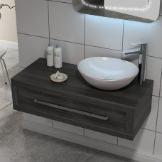 Geo Hacienda 900 Wall Hung Drawer Box (Colour Options) - 17500 just example, want vessel sink is placed on center Freestanding Vanity Unit, Bathroom Vanity Units, Bathroom Furniture, Furniture Vanity, Bathroom Ideas, Wall Hung Toilet, Wall Hung Vanity, Vanity Drawers, Vanity Cabinet