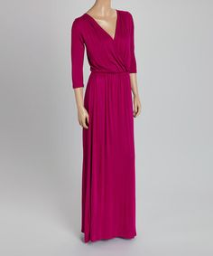 Another great find on #zulily! Berry Surplice Maxi Dress - Women #zulilyfinds