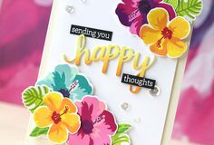 Hero Arts Color Layering Hibiscus stamp set. I used several Hero Arts ink cube sets on the flowers & leaves: Flower Petal, Floral Hues, Rain Forest & Morning Glory. I used the Happy & Hello Stamp & Cut sets for the sentiment. I blended color on the happy die cut using the Morning Glory ink cubes.