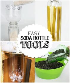 We've got some terrific upcycles for you. 4 nifty and useful things you can make with soda bottles! A spaghetti holder, a funnel, a drip catcher and a scoop!