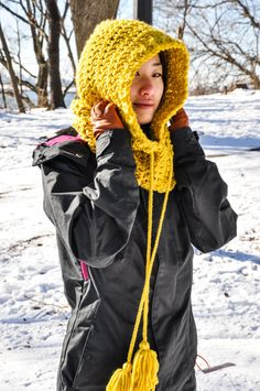 Fern Cowl, Citrus Hooded Cowl with Tassels, Yellow Hooded Cowl, Yellow Scoodie, Crochet Scoodie on Etsy, $40.00