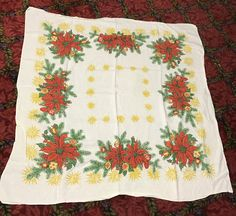 A personal favorite from my Etsy shop https://www.etsy.com/listing/486634483/christmas-tablecloth-vintage-poinsettias