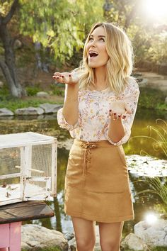 Lauren Conrad in an LC Lauren Conrad for Kohl's Pintuck Top and Faux Suede Skirt