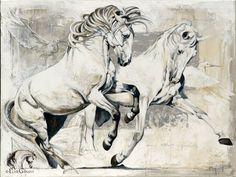 """Élise Genest Art et Chevaux """"L'envolée"""" 36x48"""" DISPONIBLE - AVAILABLE giclées disponibles - prints available"""