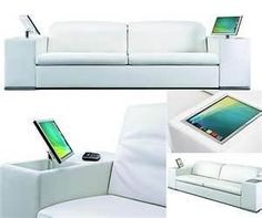 A sofa with built in computers and monitors.  Wireless keyboard and you are all set.  Intregration of technology into living.