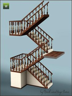 My Sims 3 Blog: Most Viewed - Sims 3 Modded Script Stairs - Cottage Half Landing by Inge and Gosik