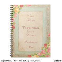 80.a fiesta de cumpleaños de los rosas elegantes libros de apuntes con espiral