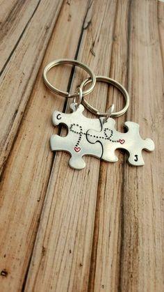Boyfriend Valentines Gift, Long Distance Boyfriend Gift, Boyfriend Girlfriend Keychains, Cute Gift for Boyfriend, Anniversary Keychain Set