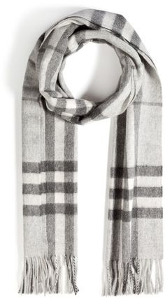 Burberry Brit Gray Large Check Cashmere Scarf