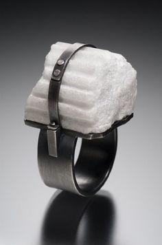 Donna Veverka, Fragment ring, hand carved marble, oxidized sterling silver