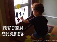 """Fun Foam Shapes- toddler """"busy bag"""" activity from Cheap Crafty Mama"""