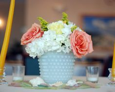 These vintage milk glass table vases are easily found at any thrift store.