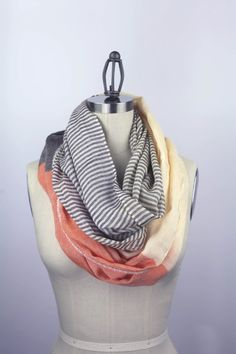 CORAL infinity scarf color block  silky feel extra by gertiebaxter, $34.50