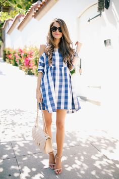 July 4th outfit - gingham dress