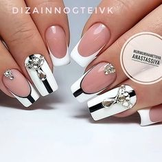 New Gorgeous Clear Nail Designs to Inspire You - Page 2 of 56 - ladynailstyle Clear Nail Designs, Beautiful Nail Designs, Beautiful Nail Art, Acrylic Nail Designs, Gorgeous Nails, Pretty Nails, Acrylic Nails, Black And White Nail Art, White Nails