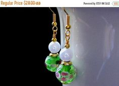 HALLOWEEN SALE Green Earrings. Lampwork Earrings with Pink Flowers - Peony Petals. Handmade Jewelry. by Gilliauna from Bits n Beads by Gilliauna. Find it now at http://ift.tt/2xwGccj!