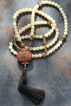 Beautiful frosted jade gemstone mala necklace by look4treasures