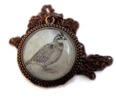 Quail pendant: A miniature print of my pencil drawing of a Bobwhite, made into a unique necklace