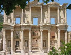 The Library in Ephesus, Turkey. Ephesus was in ancient times an important seaport on the west coast of Asia Minor with about 250 000 inhabitants. The city was the Ionian Greece's economic center, and later one of the Roman Empire's most important cities.