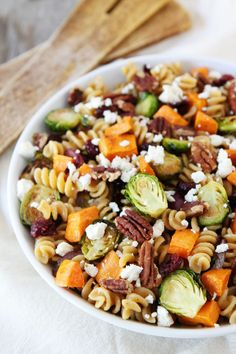 Brown Butter Pasta with Sweet Potatoes and Brussels Sprouts Recipe on twopeasandtheirpod.com The perfect pasta dish for fall!