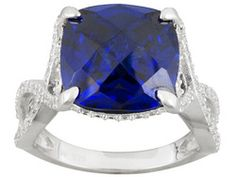 Charles Winston For Bella Luce (R) Tanzanite Color 20.96ctw Rhodium Plated Ring
