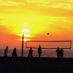 beach volleyball. sunset.