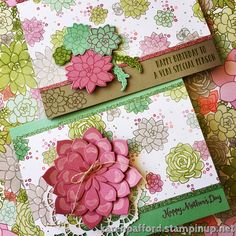 Oh So Succulent is a sweet Spring set handmade for crafting! Love, love, love the Sweet Sugarplum, Tip Top Taupe and Mint Macaron paired together in the Succulent Garden Designer Series Paper! #stampinup #ohsosucculent #succulent #gardens #spring2017 #mothersday #happybirthday #paperflowers #glimmerpaper #kmpstampstudio
