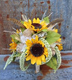 Sunflower, Burlap, Lace, and Pheasant Feather  Rustic Bridal Wedding Bouquet - Fall Wedding Bouquet - Sunflowers and Burlap Wedding Country by GypsyFarmGirl on Etsy