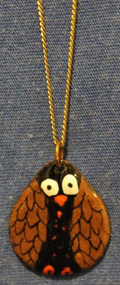 Enamel Little Owl Necklace by LindaGissen on Etsy