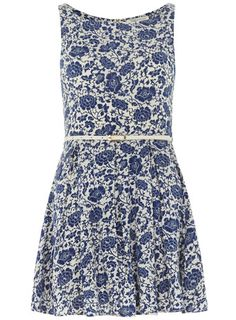 Blue floral 50s flare dress - Dresses  - Clothing