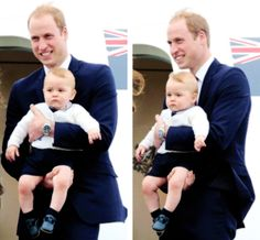 Prince William holding his adorable little son, George, as they depart New Zealand for Australia. #princegeorge