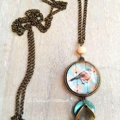 Collier bronze les belles images de melletincelle✭ pendentif cabochon rond verre motif liberty bleu pastel oiseau
