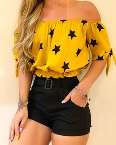 May 2020 - Stars Print Off Shoulder Short Sleeve Blouse Trendy Summer Outfits, Cute Comfy Outfits, Girly Outfits, Pretty Outfits, Stylish Outfits, Cool Outfits, Girls Fashion Clothes, Teen Fashion Outfits, Outfits For Teens