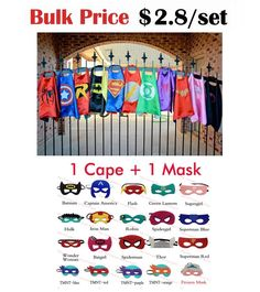 Superhero cape (1 Cape +1 Mask) Halloween Costume Super Hero Capes for kids Party Cosplay